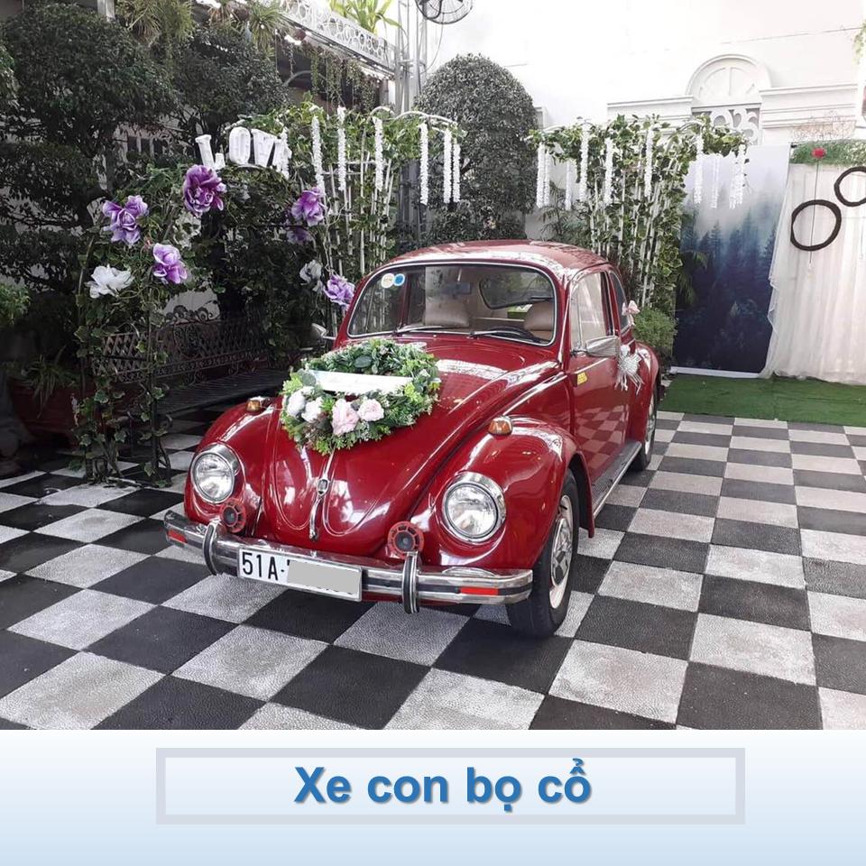 xe Volkswagen cổ màu đỏ