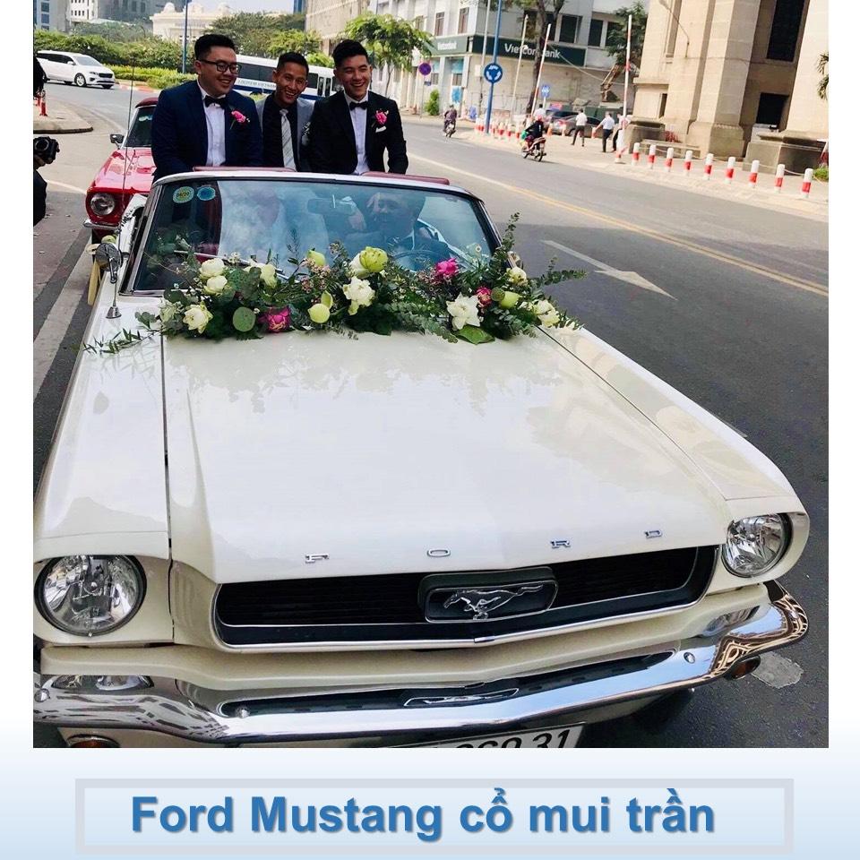 xe Mustang 1967 mui trần trắng